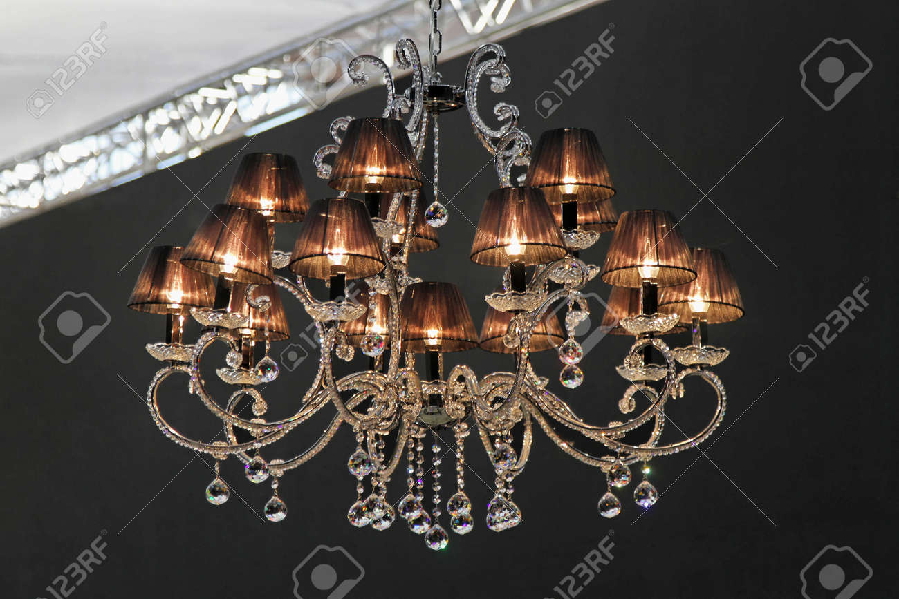 Retro Style Crystal Chandelier With Dark Lampshades Stock Photo ...