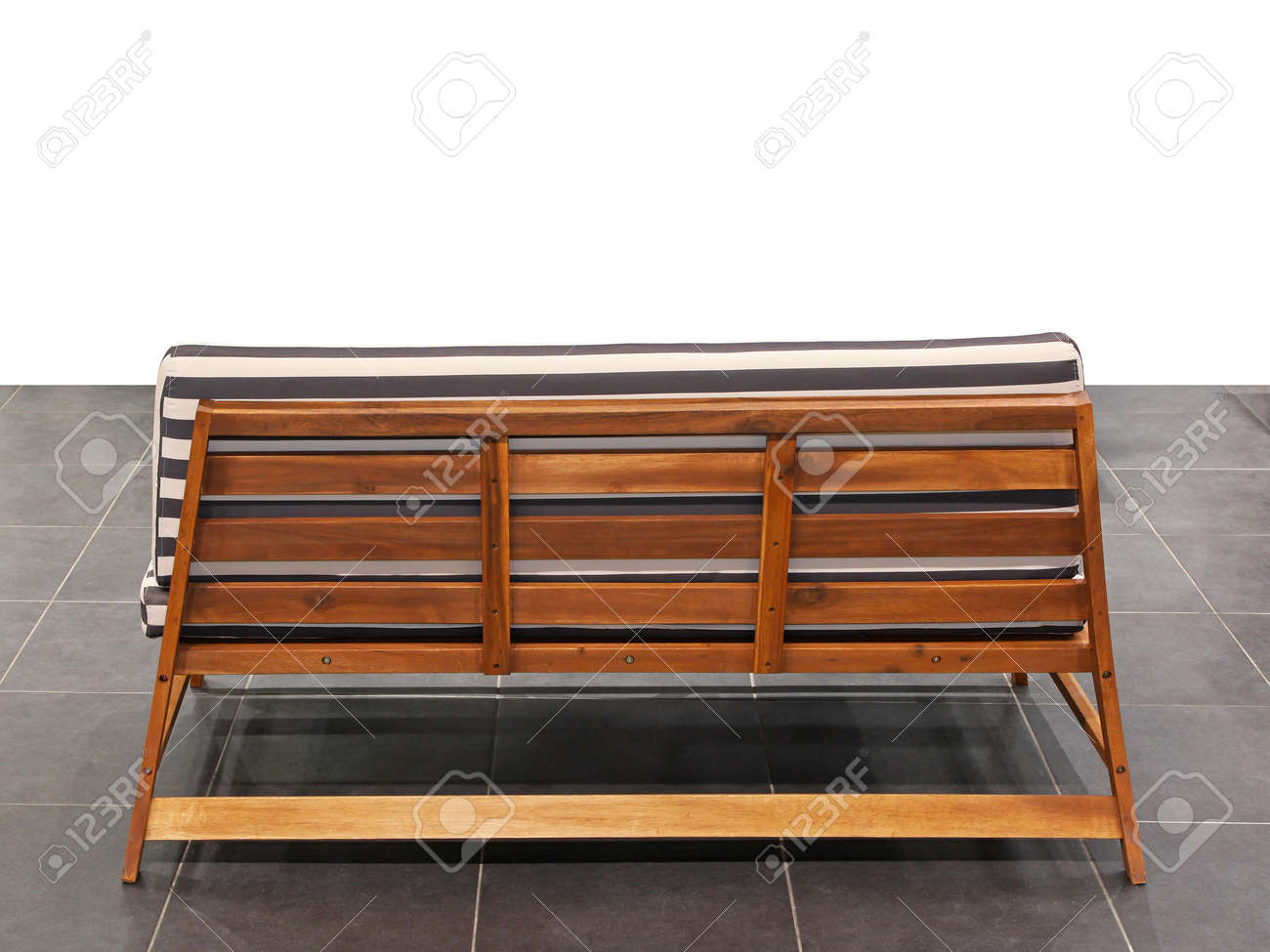 Back view of outdoor wooden bench Stock Photo - 16686514