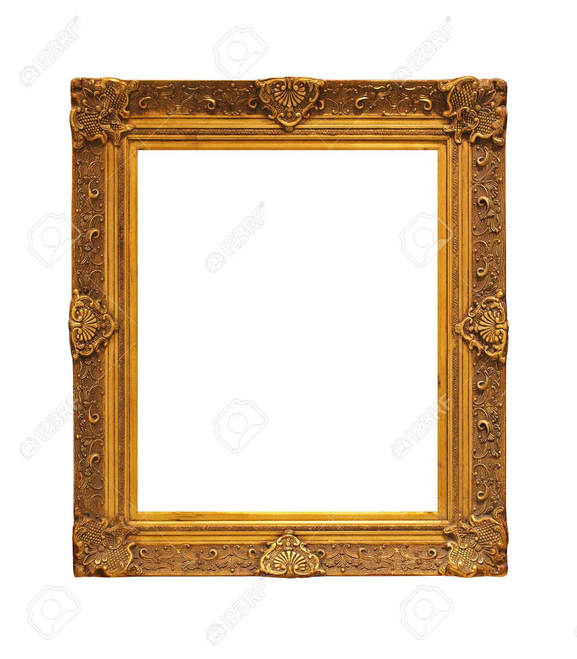 Golden picture frame isolated included clipping path Stock Photo - 17191495