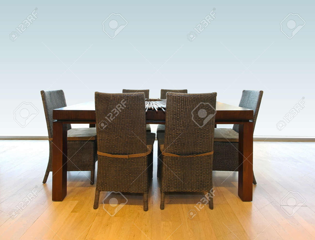 Wooden dinning table and chairs for six Stock Photo - 17213758