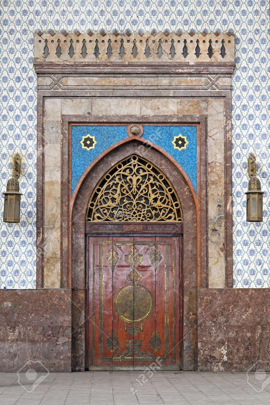 Medieval door at Cairo railway station Ramses Stock Photo - 17249593