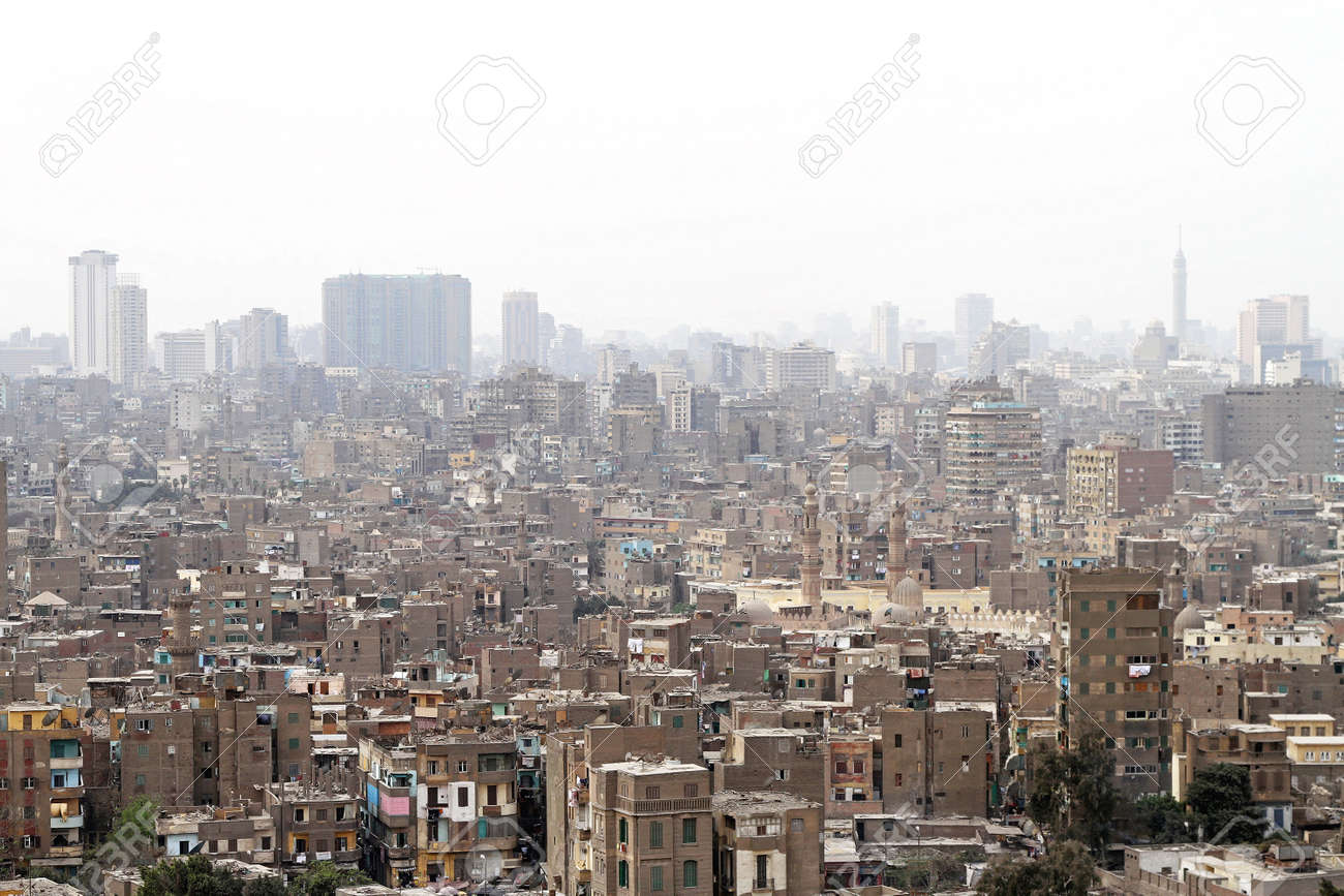 Aerial view of heavy polluted Cairo slums Stock Photo - 17249586