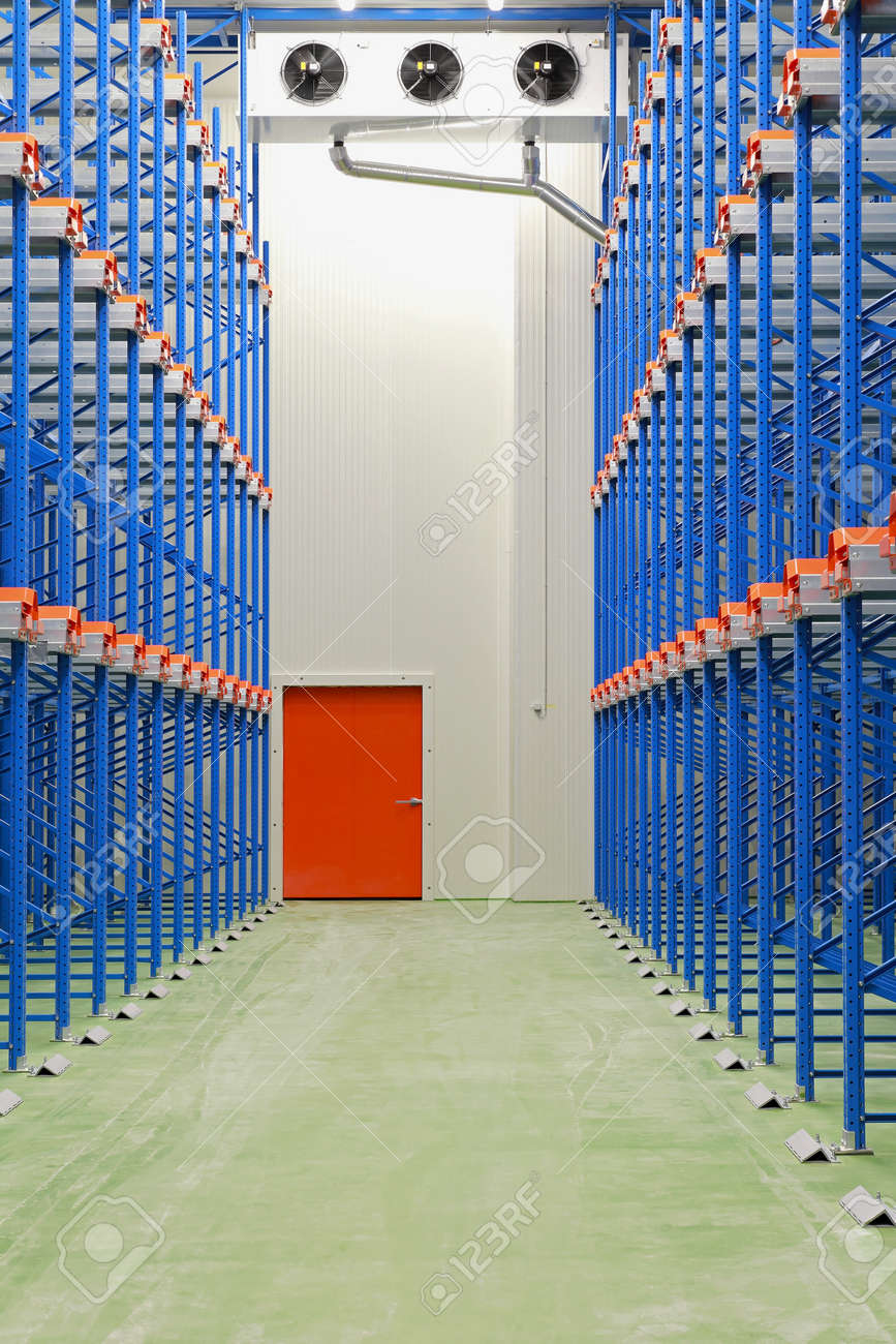 Refrigerated and freezing warehouse with blue shelves Stock Photo - 18029477