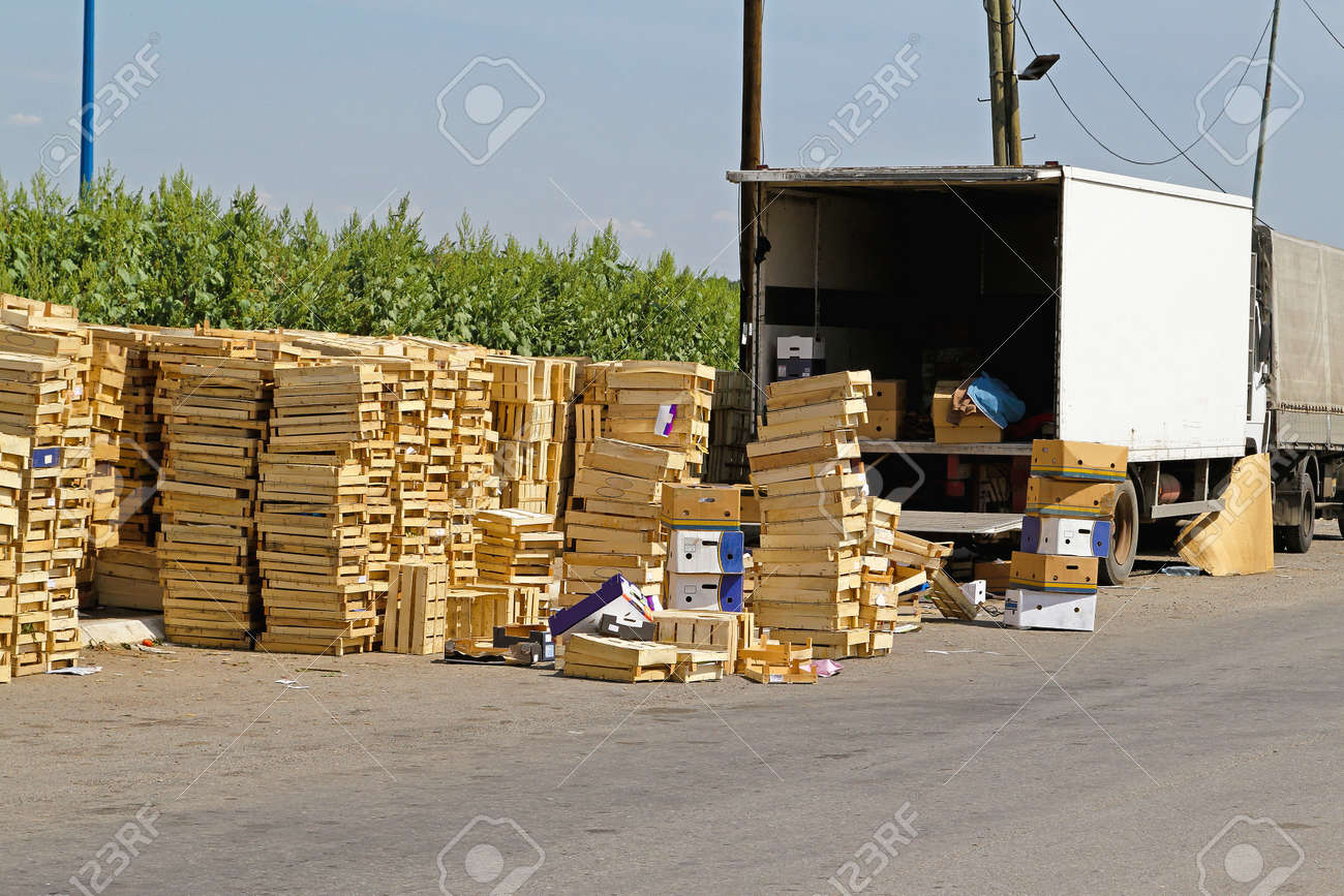 Wooden Crates For Fruits And Vegetables Transportation Stock Photo