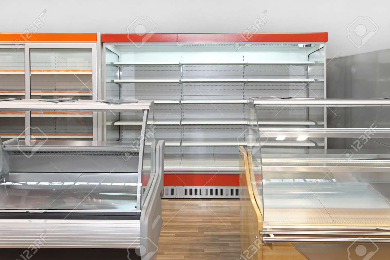 Empty Retail Shelves And Showcases In Grocery Store Stock Photo ...