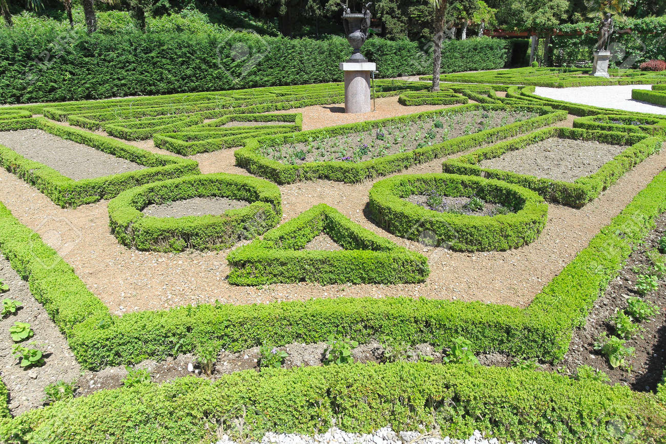 Cultivated Garden With Plants In Geometric Shapes Stock Photo   19962793