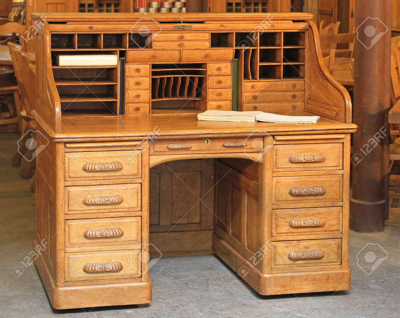 Phenomenal Vintage Style Secretary Wooden Desk With Rolltop Home Remodeling Inspirations Gresiscottssportslandcom