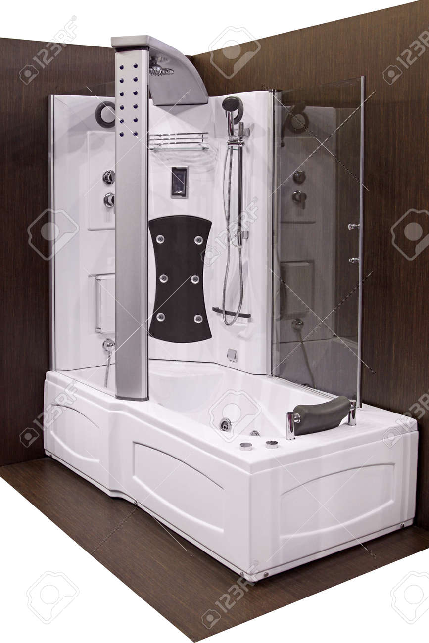 Modern Bathtub And Shower With Hydro Massage Jets Stock Photo   20107700