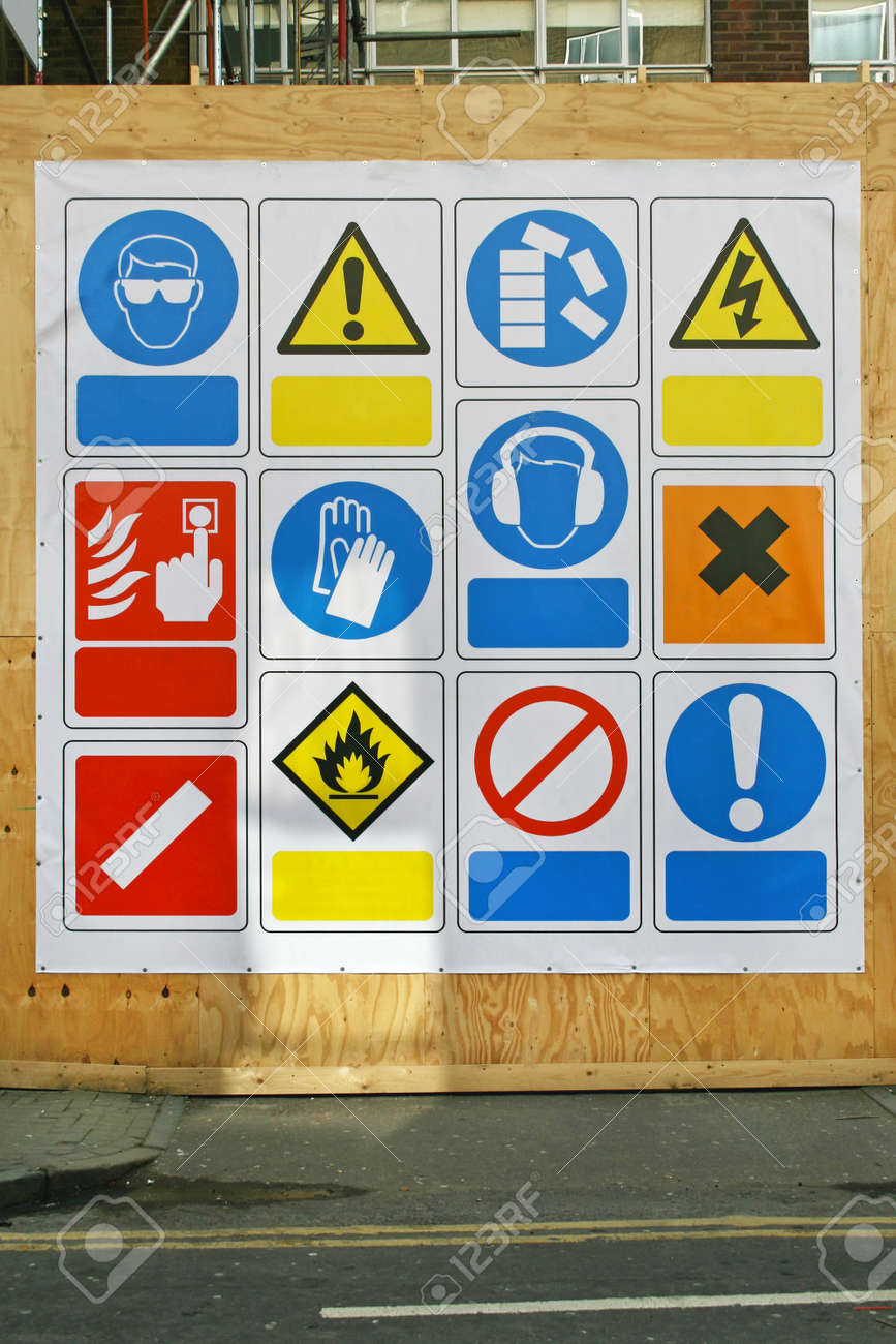 Construction Site Health And Safety Signs And Symbols Stock Photo