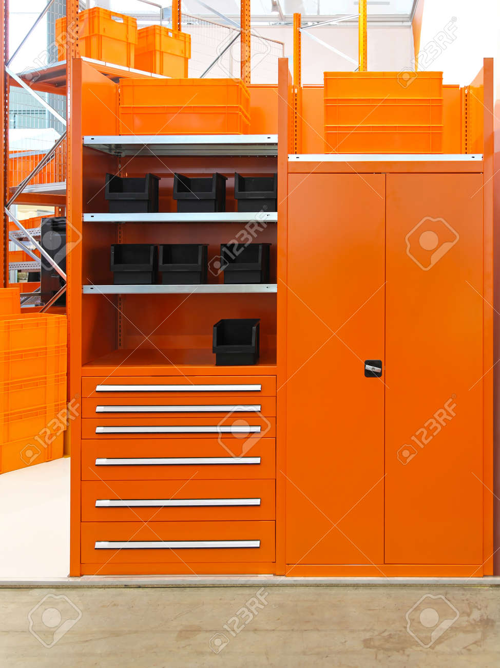 Wondrous Orange Shelves And Locker Storage In Warehouse Home Interior And Landscaping Ologienasavecom