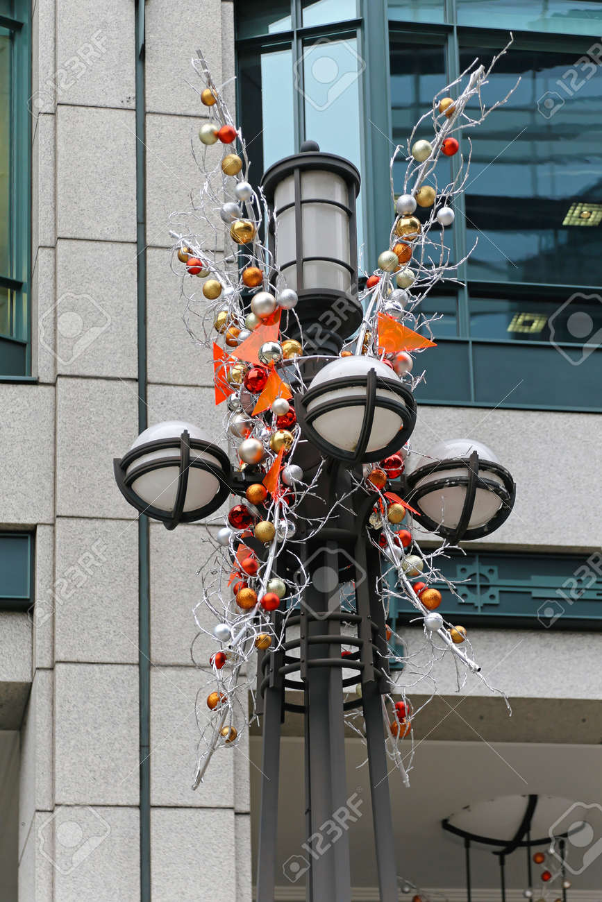 lamp post with christmas decoration in london stock photo 24057769