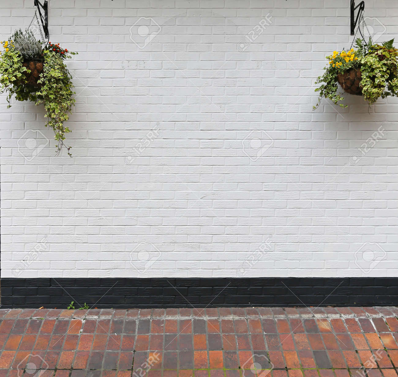 White Wall With Hanging Flower Pots Stock Photo Picture And Royalty Free Image Image 24088489