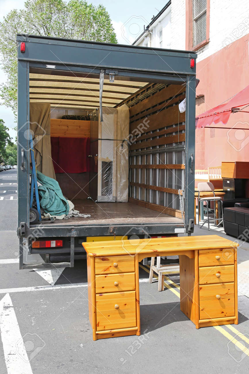 Open Rear End Of Moving Furniture Truck Stock Photo Picture And - Moving furniture