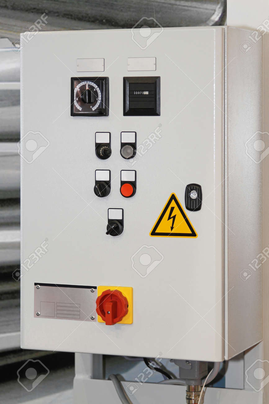 Electric Control Box With Push Buttons And Switches Stock Photo ...