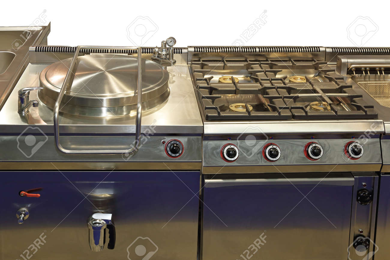 Commercial pressure cooker and big gas range in professional..