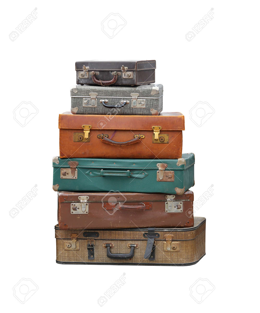 Stack Of Vintage Suitcase Luggage Isolated Included Stock Photo ...
