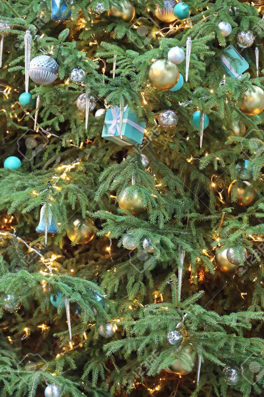 Icicles For Christmas Trees.Beautiful Christmas Tree With Icicles And Gifts