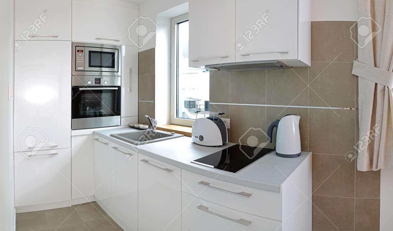 Small White Kitchen In Contemporary Apartment