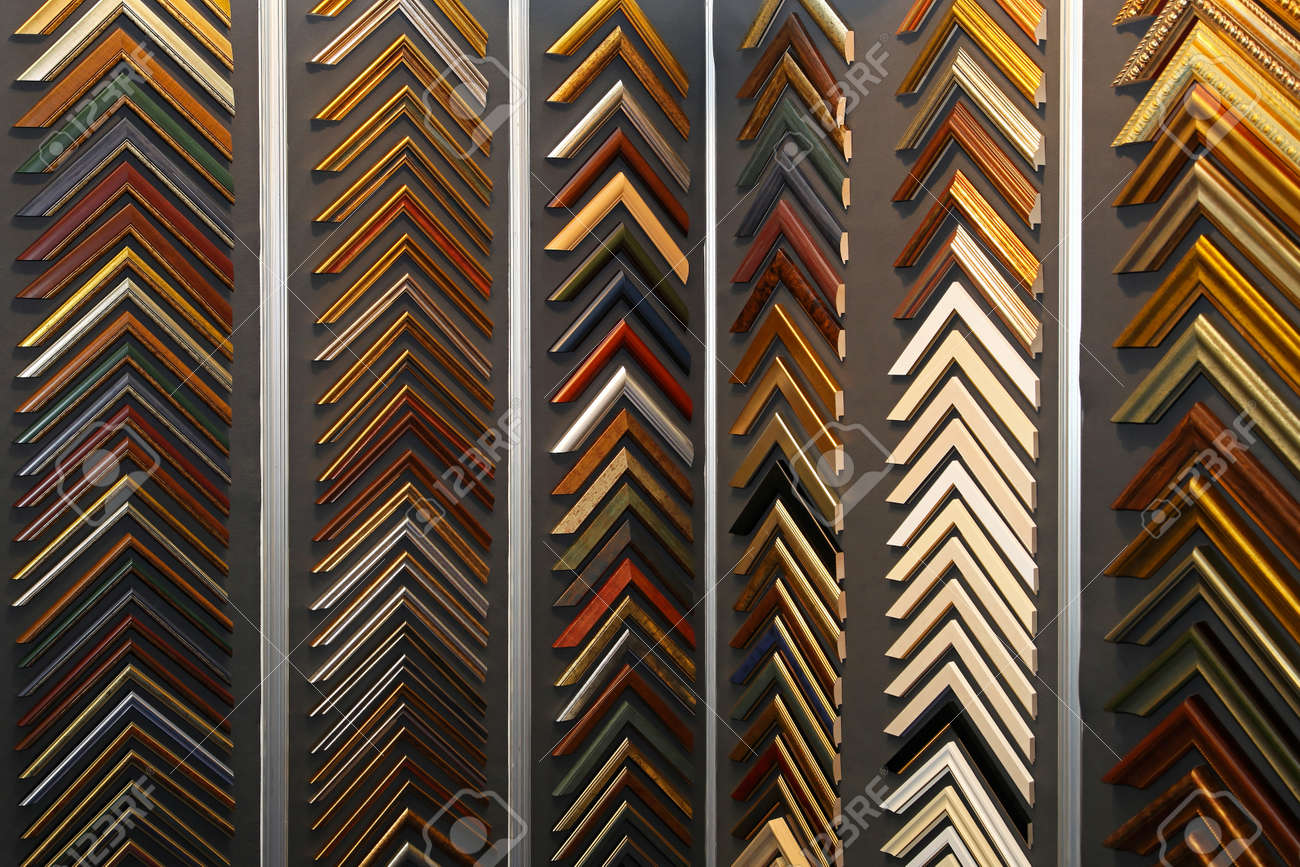 Sample Frame Corners At Wall In Craft Shop Stock Photo, Picture And ...