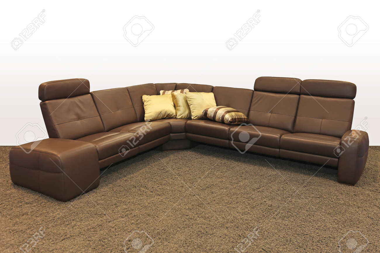 Brown Leather Corner Sofa With Pillows