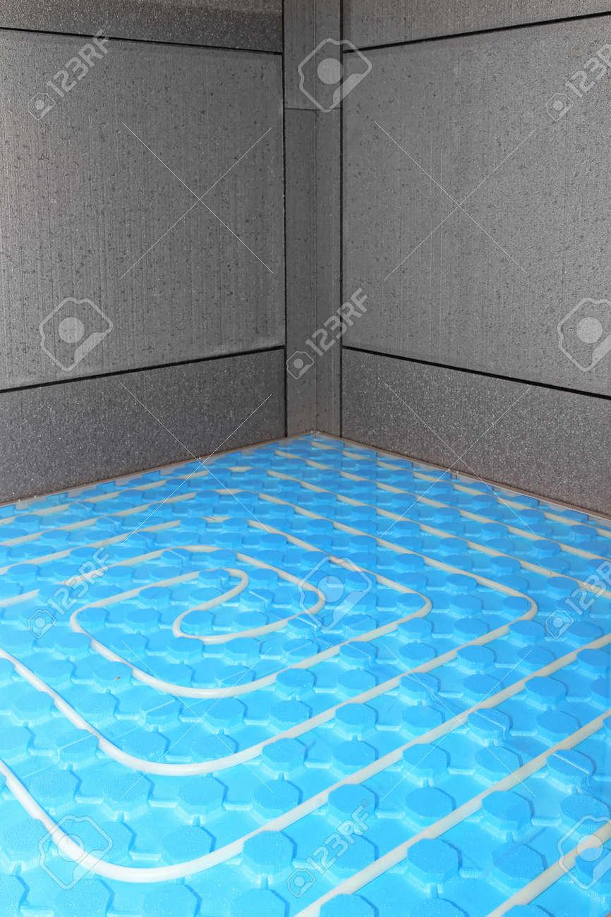 Installation Of Efficient Underfloor Central Heating System Stock ...