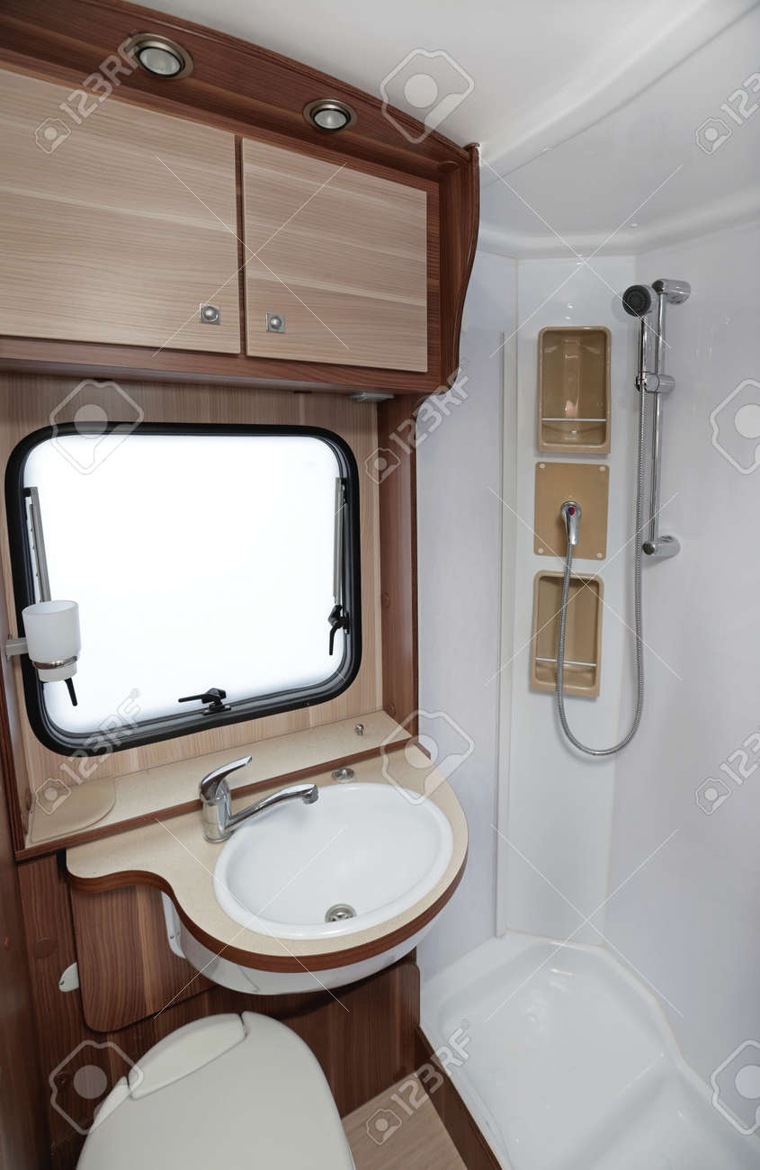 Bathroom With Shower And Toilet In Camper Van Stock Photo, Picture ...