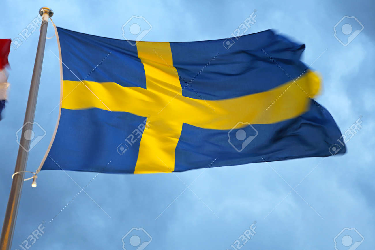 Bandera azul con cruz amarillas