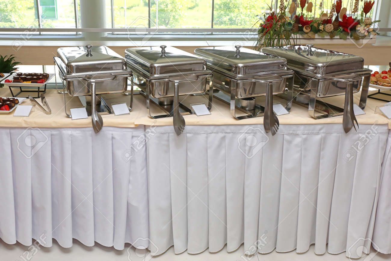 Buffet Table.Buffet Table With Stainless Steel Food Warmers
