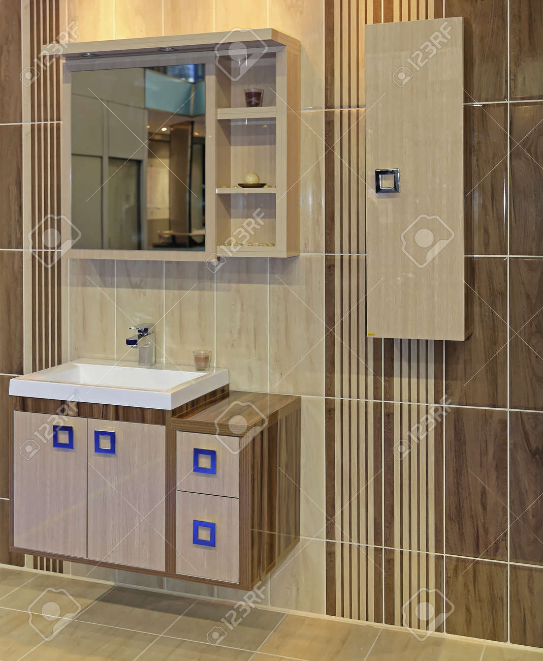 Modern Cabinets In Beige Bathroom Interior Stock Photo Picture And Royalty Free Image Image 145313550