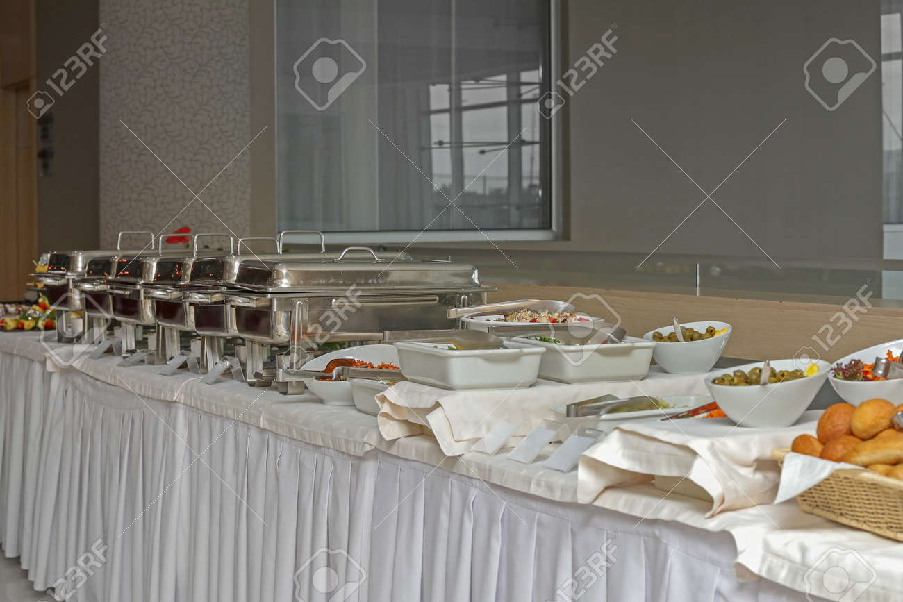 Picture of: Served Food At Big Long Buffet Table Stock Photo Picture And Royalty Free Image Image 150695878