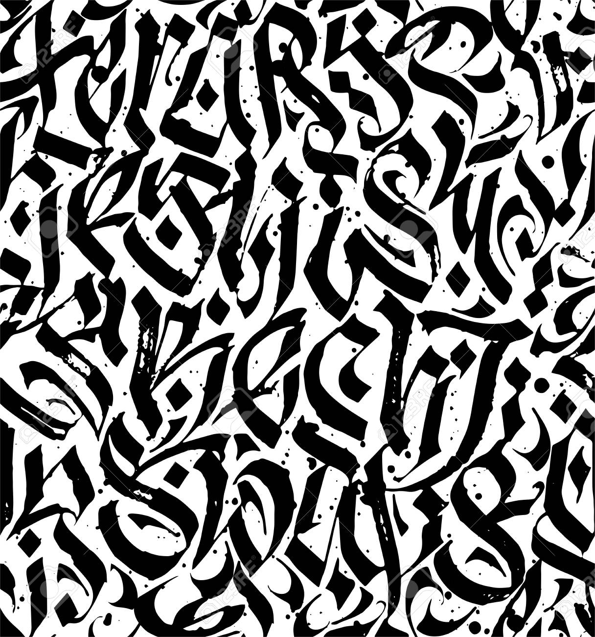 Abstract Calligraphic Seamless Pattern Pen And Ink Hand Drawing