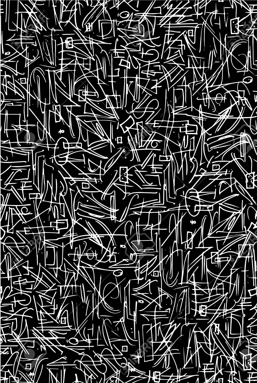 Abstract Pattern Of White Ink On Black Background Pen And Ink
