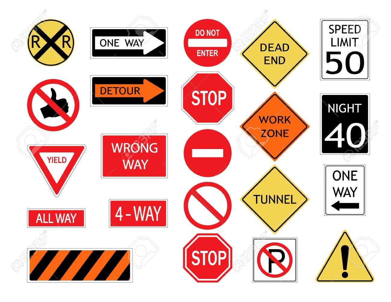 Road signs and symbols  Illustration of various road signs  Vector