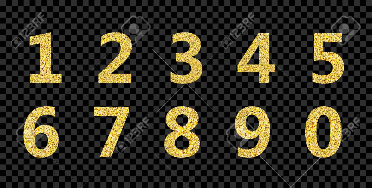 Golden Glitter Alphabet Numbers 1,2,3,4,5,6,7,8,9,0 On Transparent..  Royalty Free Cliparts, Vectors, And Stock Illustration. Image 110764488.