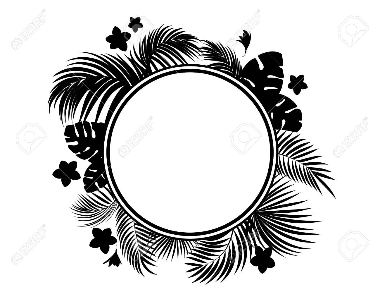 Tropical Leaves And Flowers Black Silhouette Circle Frame Isolation Royalty Free Cliparts Vectors And Stock Illustration Image 112948139 Leaves design resources · high quality aesthetic backgrounds and wallpapers, vector illustrations, photos, pngs, mockups, templates and art. tropical leaves and flowers black silhouette circle frame isolation