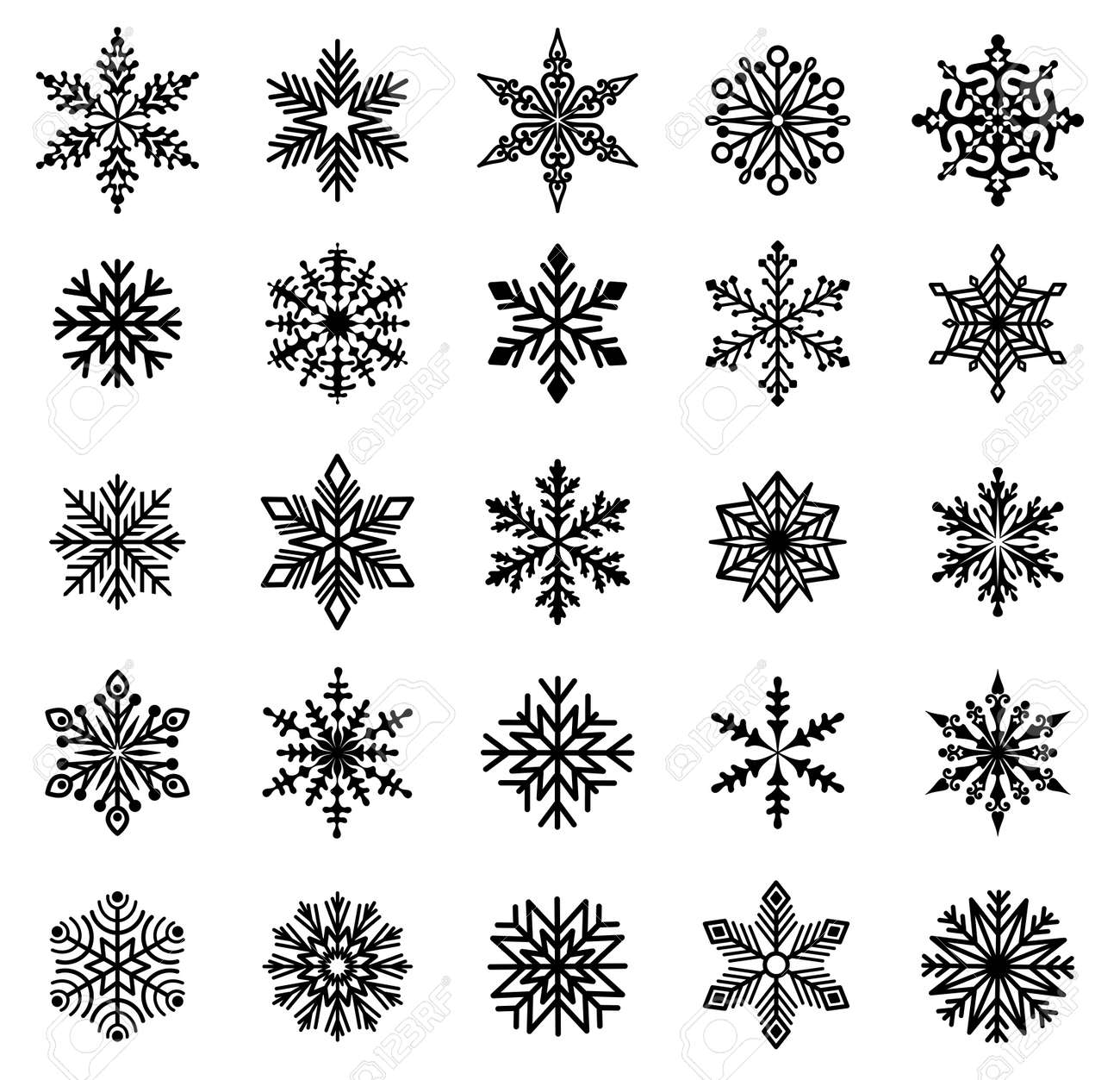 Snowflakes. Set of varied snowflakes. Design element for Christmas, New Years and Winter Holidays. Black silhouette. Isolated. Vector - 153977753