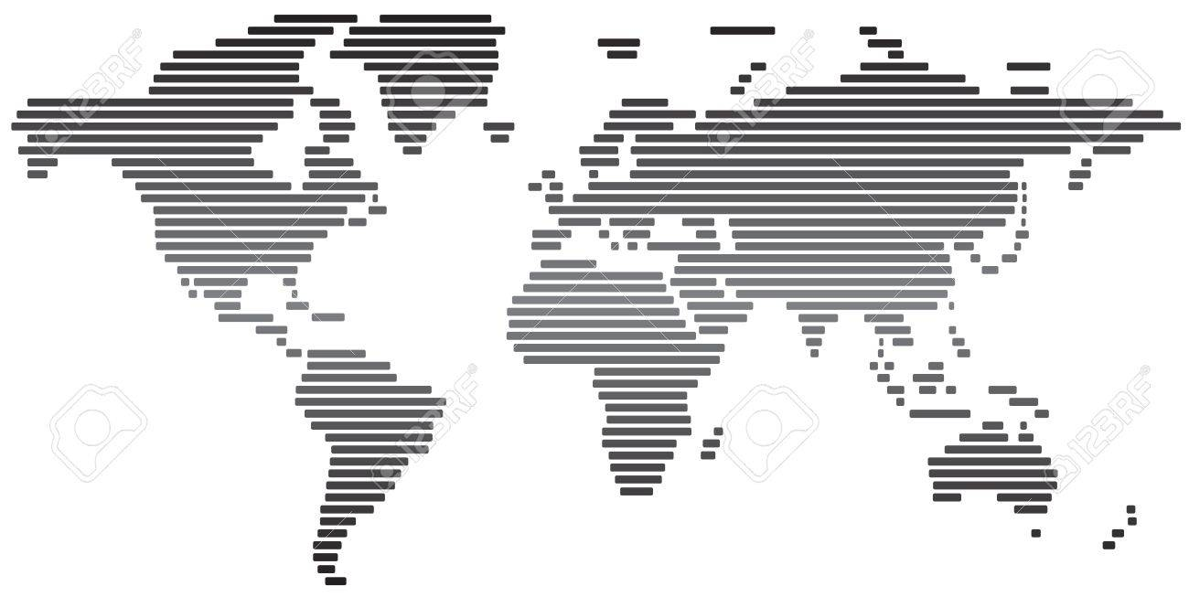 Simple Abstract World Map Black And White Stock Photo   20693181