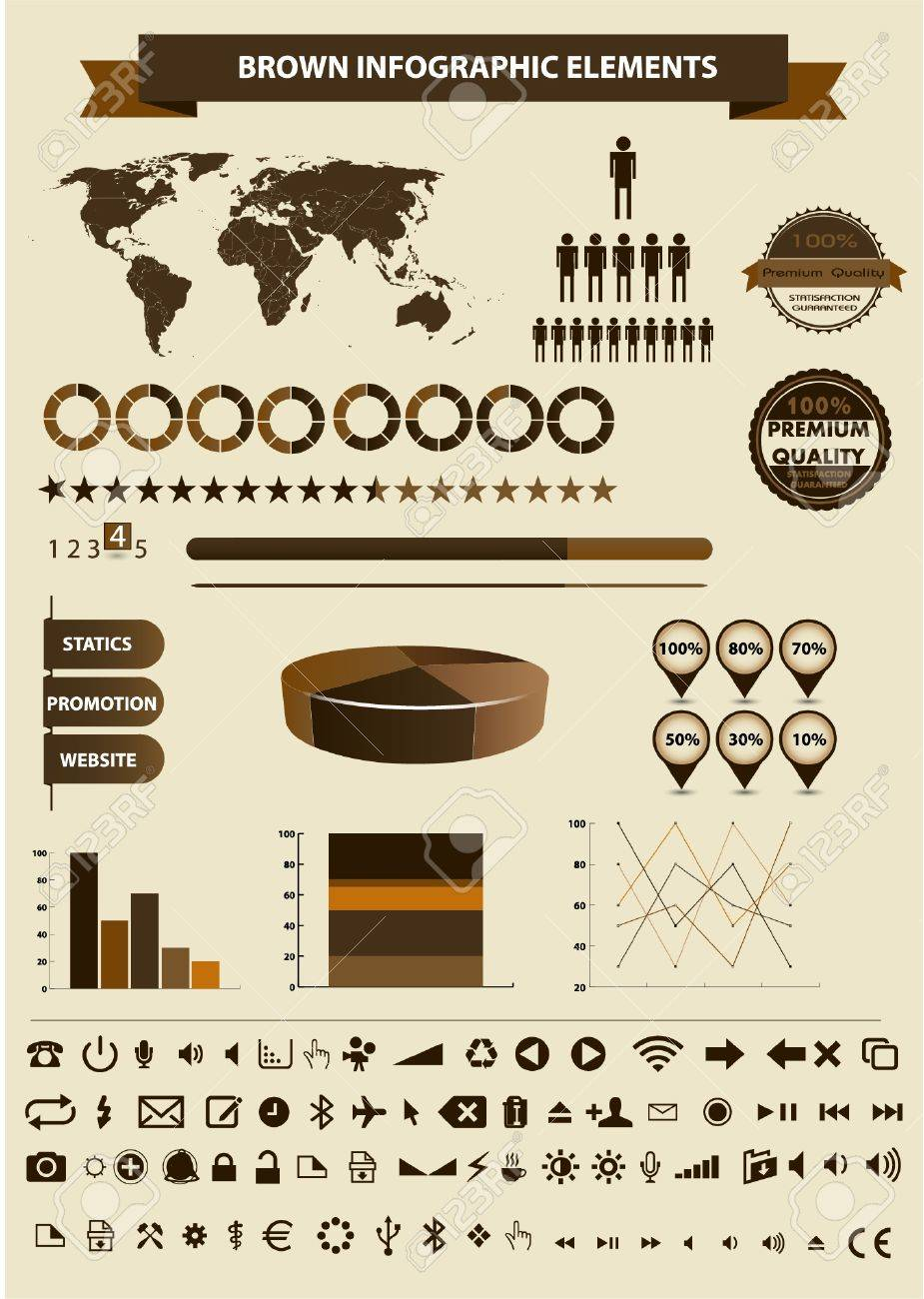 Retro infographics set. World Map and Information Graphics Stock Vector - 15164284