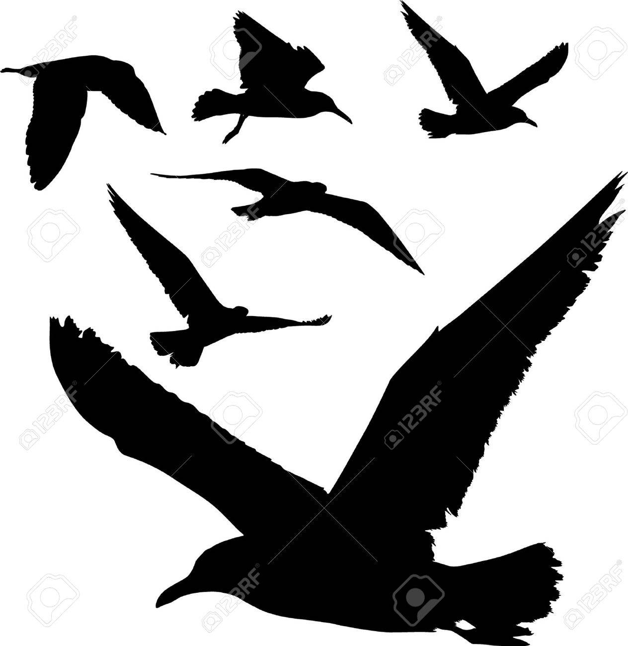 Some silhouettes of seagulls flying Stock Vector - 2757324