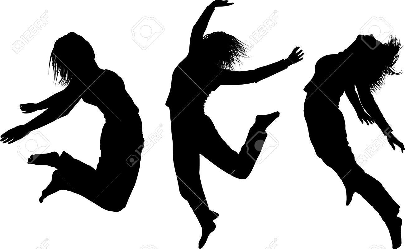 some silhouettes of jumping girls royalty free cliparts vectors rh 123rf com dancing person silhouette vector dancing silhouette vector