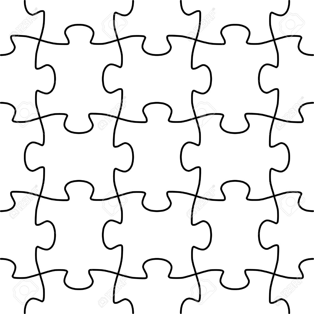 Jigsaw Puzzle Template Vector - Real Clipart And Vector Graphics •