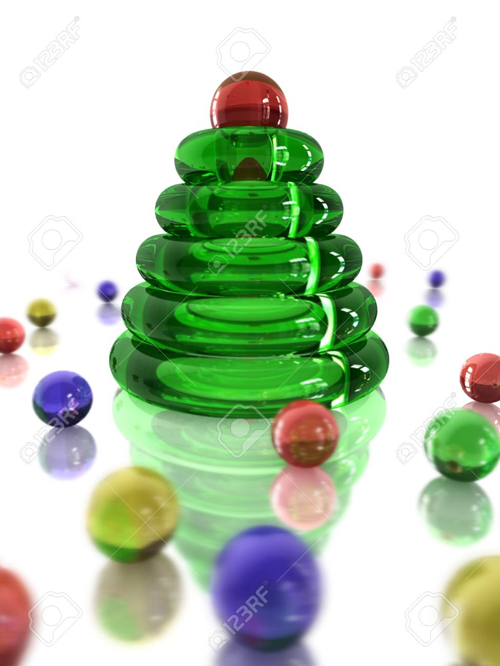Christmas card with glassy symbolic tree and many glass beads