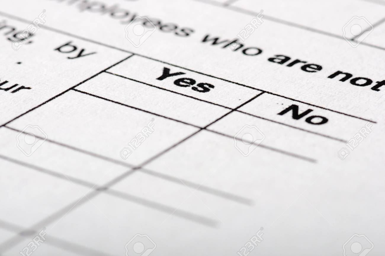 Customer questionnaire with YES and NO fields Stock Photo - 8356289