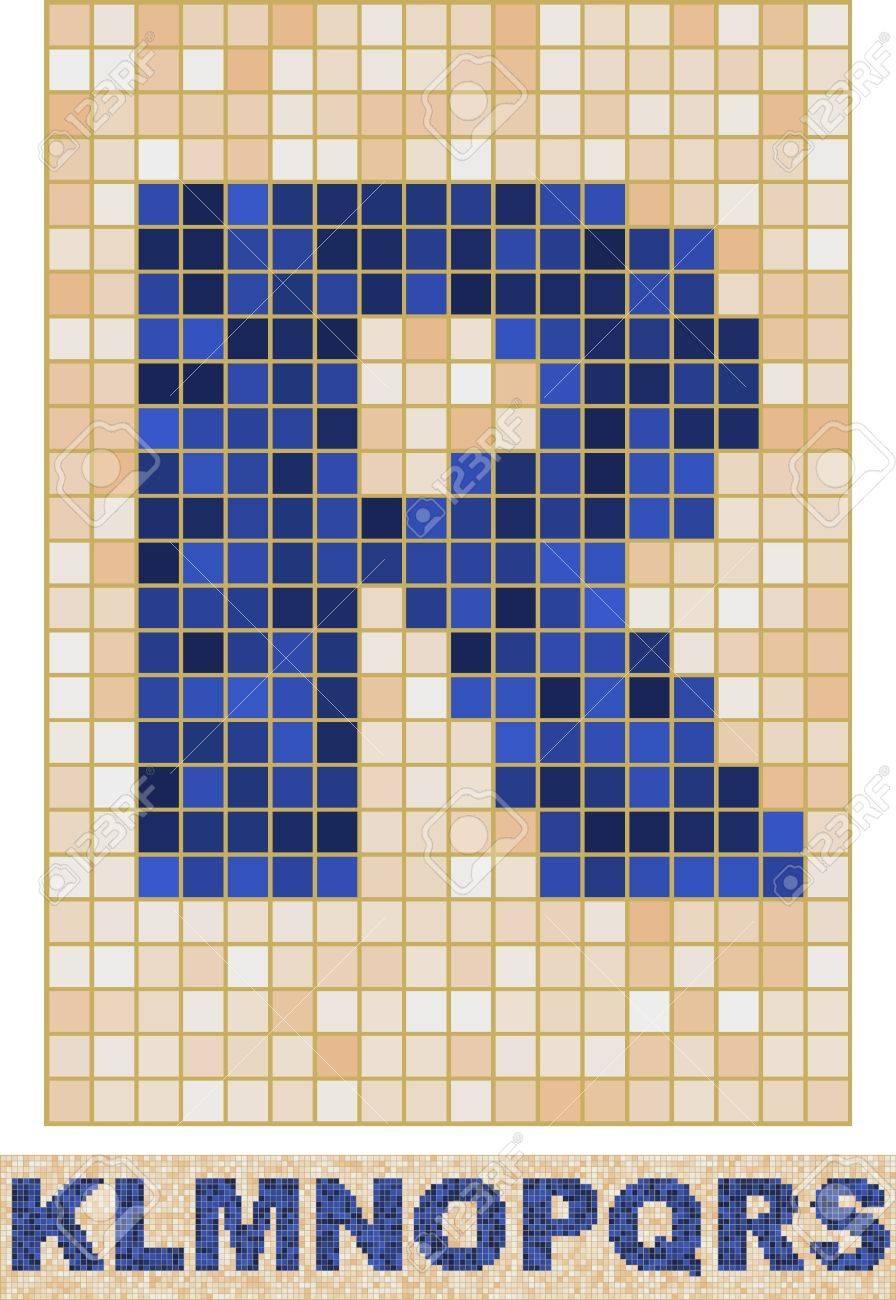 Vector font made of truelike mosaic. K-S. Stock Vector - 8605342