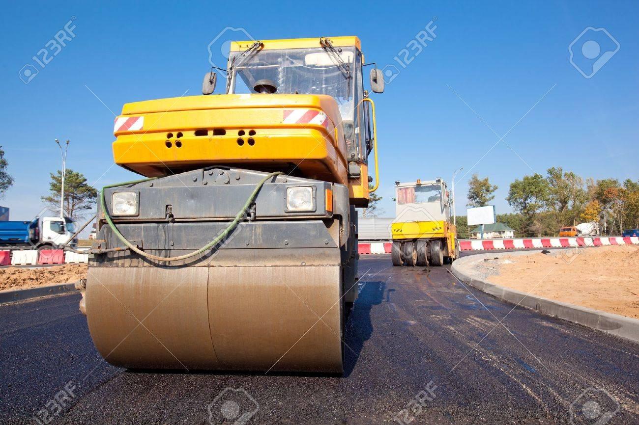 Road rollers during asphalt paving works Stock Photo - 17859231