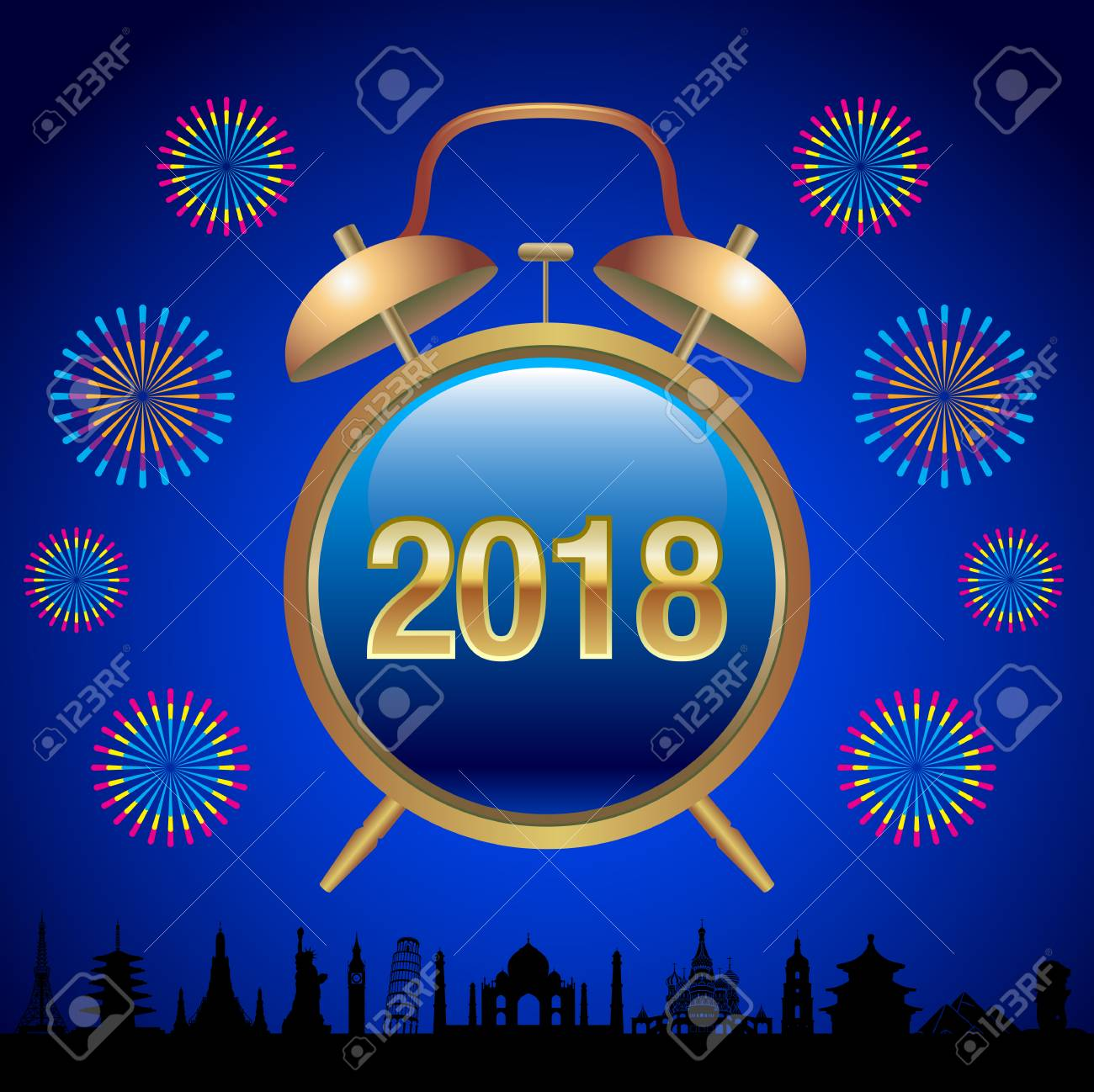 happy new year greeting card with alarm clock new year background stock vector 90836401