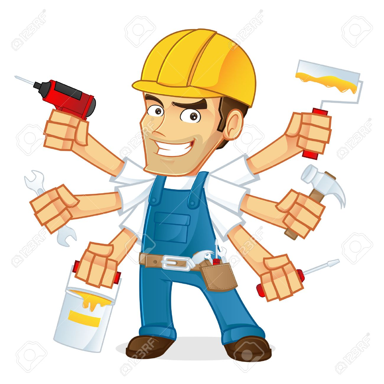 Handyman holding multiple tools - 50297578