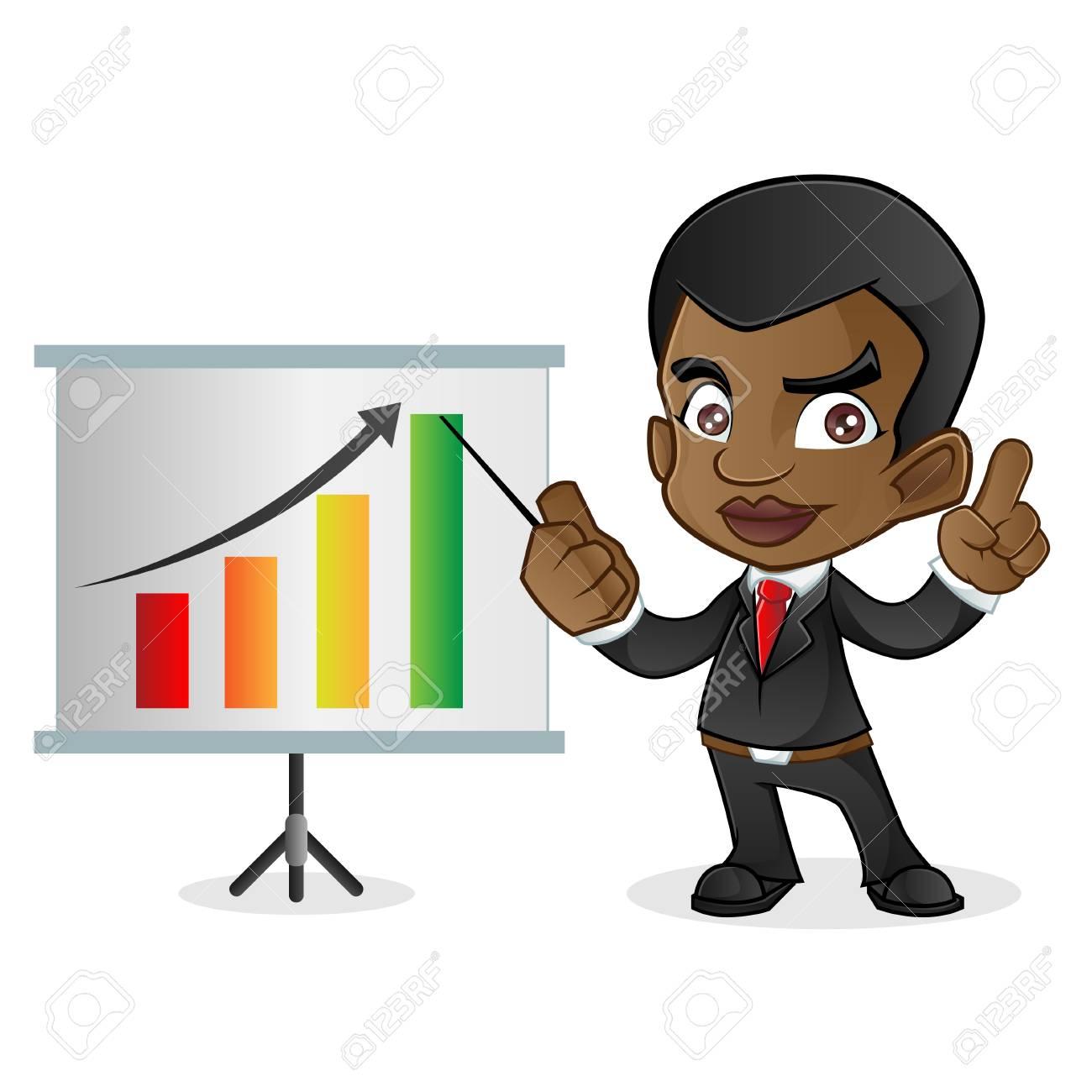 Black Business Man Talking Vector Cartoon Clipart - FriendlyStock