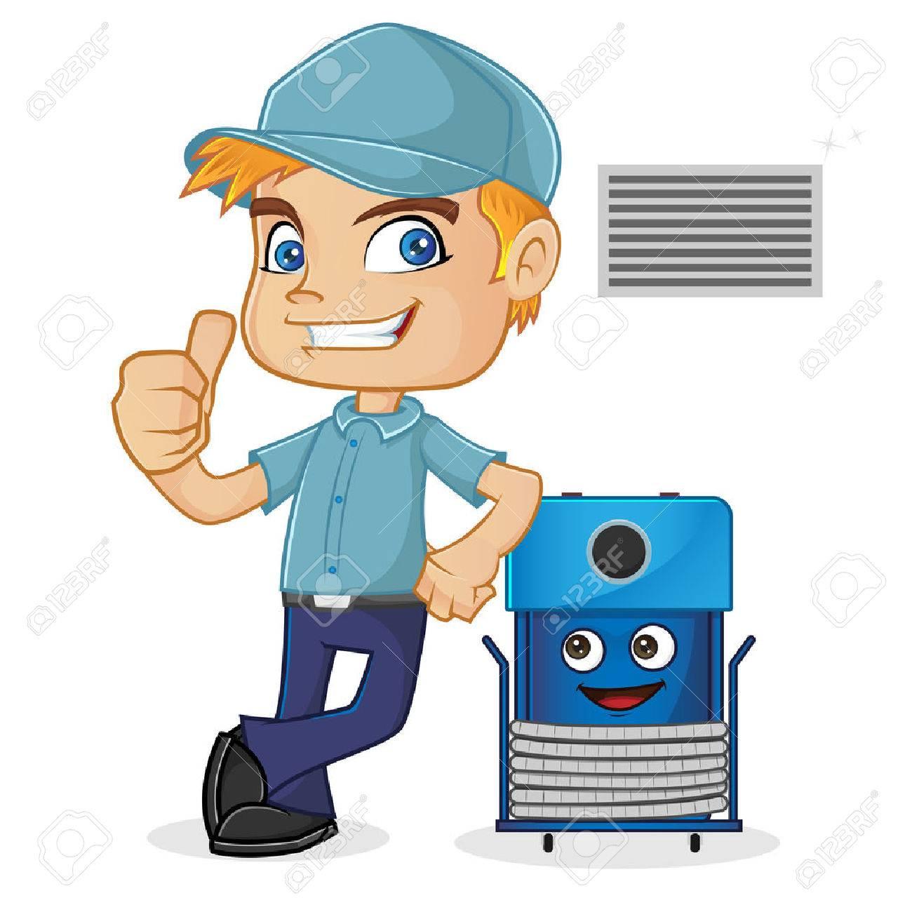 hvac technician leaning on cleaning machine royalty free cliparts rh 123rf com HVAC Graphics HVAC Cartoon Clip Art