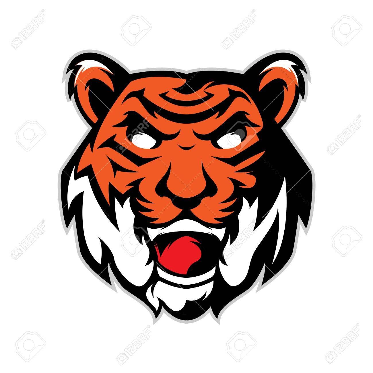 tiger head mascot logo isolated in white background royalty free rh 123rf com  tiger mascot clipart free